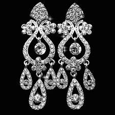 Chandelier Crystal Rhinestone Silver Earrings Bridal Long Drop Womens Jewelry
