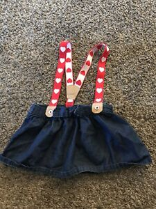 girls jean skirt with red heart suspenders size 12 months cat & jack #2