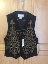 Vintage Suede Black Vest, Erez Levy Womens Suede 100% Leather