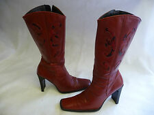GUESS Womens Calf Boots 8.5 Red Spain Inside Zipper Snakeskin Leather Square Toe