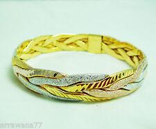 3 Tone 22K 23K 24K Thai Baht Yellow & White Gold GP Bracelet Bangle BA18