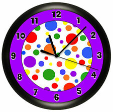 Purple Polka Dots Wall Clock Red Blue Yellow Kids Children'S Bedroom Decor