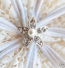 10 Starfish Diamante Rhinestone Crystal Pearl Button