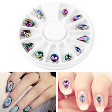 Nail Art Glass Crystal Flame AB Rhinestones Gems Metal 3D Tips Decoration Tools
