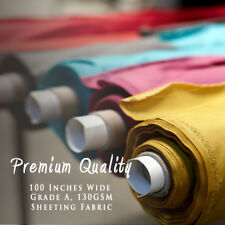 "100"" Inches Solid Plain Poly Cotton Bed Sheeting Fabric Crafts Extra Wide Metre"