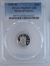 1999-W PCGS PR69 DCAM Estatua de la Libertad 1/10 Onza Eagle Platino Moneda Ms69