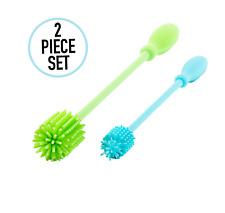 """Bottle Brush Set: 2-Pack Set 12.6"""" Handle Silicone Bottle Cleaning Set"""