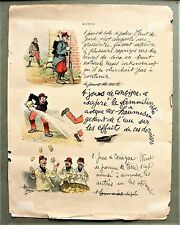 Framed Page of Military Caricatures by French Artist Albert Guillaume c. 1900