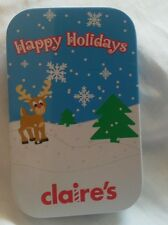 Claire's christmas earings, silver stars + 3 other sets in gift tin. Bnip