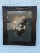 Antique All Original Valentines Cupid Print W/Heart Matting 13 1/2� X 11 3/4�