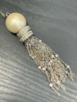 Ladies Vintage Quality Silver Crystal Charm Pearl Tassel Necklace 36""