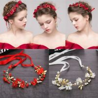 Women Headband Crystal Ribbon Wreath Flowers Vine Crown Tiaras Wedding Bridal