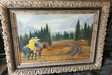 Denton, Troy; Oil on Canvas Painting, signed, Portrait of American Indian