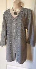 Size 1 X  Blouse Top Tunic Shirt V Neck 3/4 Sleeves 100% Rayon Embroidered New