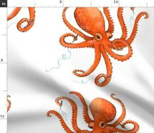Pen Squid Ocean Octopus Ocean Animal Red Octopus Spoonflower Fabric by the Yard