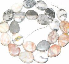 "NG1424f Pink Zebra Marble Gemstone 17x13mm Flat Teardrop Beads 15"""