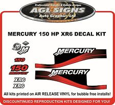 MERCURY 150 HP XR6 OUTBOARD DECAL KIT,  OTHER HP'S AND COLOURS AVAILABLE