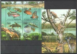 TG1014 2011 TOGO FAUNA FISH ANIMALS ECOSYSTEMS AFRICAN NIGER BL+KB MNH