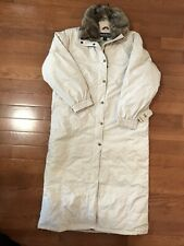 WOOLRICH Womans Med Down Puffer Parka Coat Solid Cream Removable Coyote Trim