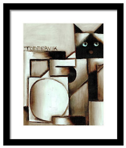 Siamese Cat Framed Wall Art Print Meow Kitty Abstract Cats Gemoetric Animal Gift