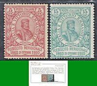 ITALY REGNO 1910 EFFIGE di G GARIBALDI nn.89 e  90 MNH** CERTIF LUSSO