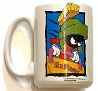 Vintage Warner Bros Looney Tunes Marvin the Martian Six Flags 1996 Coffee Mug