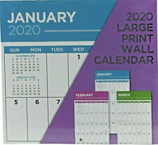 "2020 Large Print 16 Month Wall Calendar 12"" x 11"" w"