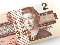1986 Canada 2 Dollar Uncirculated CBK Bonin Thiessen Banknote Bundle of 100 M964