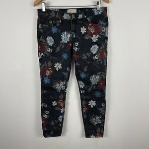 Current Elliott Womens Jeans 28 Black Floral Skinny Made In USA