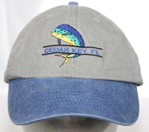 NWOT Cedar Key, Florida Hat Mahi Fishing Cap Olive Khaki & Denim Blue Bill 1Size