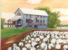 "Kristi Jones ""COTTON GIN"" Art Print Louisiana Boll Harvest Fall farm agriculture"