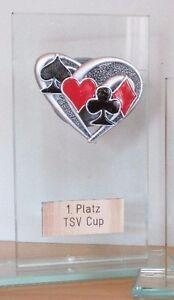 Poker/Skat-Pokal (Glas) mit Wunschgravur (H)