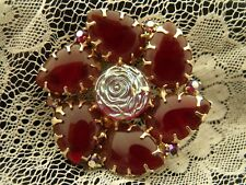 Vintage round pin brooch AB rose carmine glass stones designer unsigned