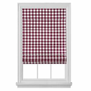 Blackout Cordless Retractable Check Plaid Gingham Taupe Window Roman Shades