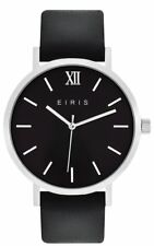 WOMENS MENS FASHION DRESS WATCH 100% LEATHER BAND SILVER BLACK ANALOG 5ATM