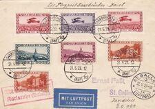 1929 SAARLAND/SARRE, First flight Saarbruchen-Basel franking with 7 values