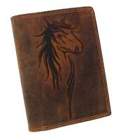 Herren Leder Geldbörse Geldbeutel Portemonnaie Börse Büffelleder RFID Pferd