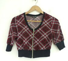 WET SEAL Womens Red Black & Gray Plaid Short Zip Front Sweater Size Medium