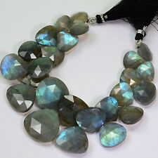 281.3CT Large Labradorite Faceted Heart Briolette Bead 7.5 inch strand