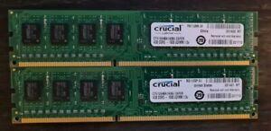8GB RAM ( 4GB X 2) Crucial 4GB UDIMM 1600 MHz DDR3 SDRAM Memory (CT51264BA160BJ)