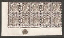 Transvaal 1906,King Edward-VII 4p Plate Block of 10,Sc 273,XF Superb MNH**OG