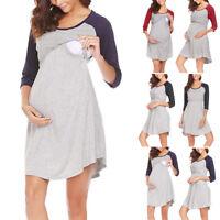 Women Maternity Long Sleeve Dress Breastfeeding Nursing Dresses Pregnant Clothes