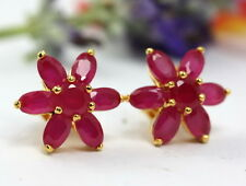 GORGEOUS RUBY COLOR CZ STUD EARRINGS 22K 24K Yellow Gold GP Thai Jewelry GT35