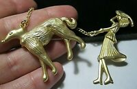 Vintage Style Art Deco Revival Lady Walking Afghan Dog Duet Pin Jewellery BROOCH