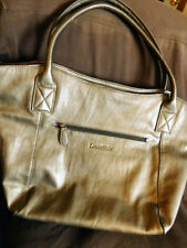 LouenHide Large Zippered Tote w Clutch Wristlet BRONZE Excellent