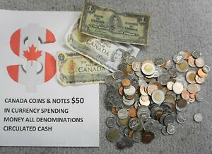 CANADA COINS $50 IN CURRENCY SPENDING MONEY ALL DENOMINATIONS CIRCULATED CASH