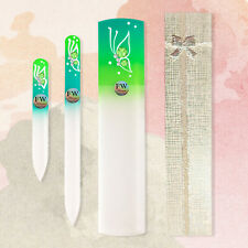 "Premium Gift Set ""Butterfly"" Glass Nail Files & Glass Foot File in a Gift Box"