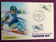 """2010 Cartolina Filatelica FDC """"Vancouver  2010"""" Annullo ROMA FILATELICO"""