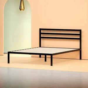 """Zinus Mia 38"""" Black Metal Platform Bed with Headboard, Queen"""
