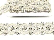 1 Yard Pearl Bridal Belt Rhinestone Wedding Sash Belt ,For Bridal Dresses Trim